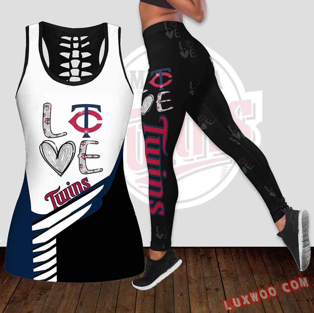 Combo Minnesota Twins Love Hollow Tanktop Legging Set Outfit K1880