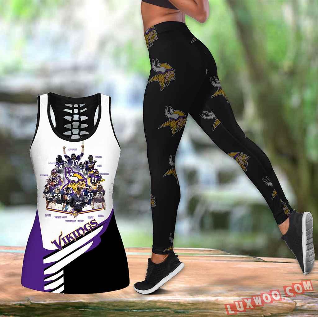 Combo Minnesota Vikings Hollow Tanktop Legging Set Outfit K1593