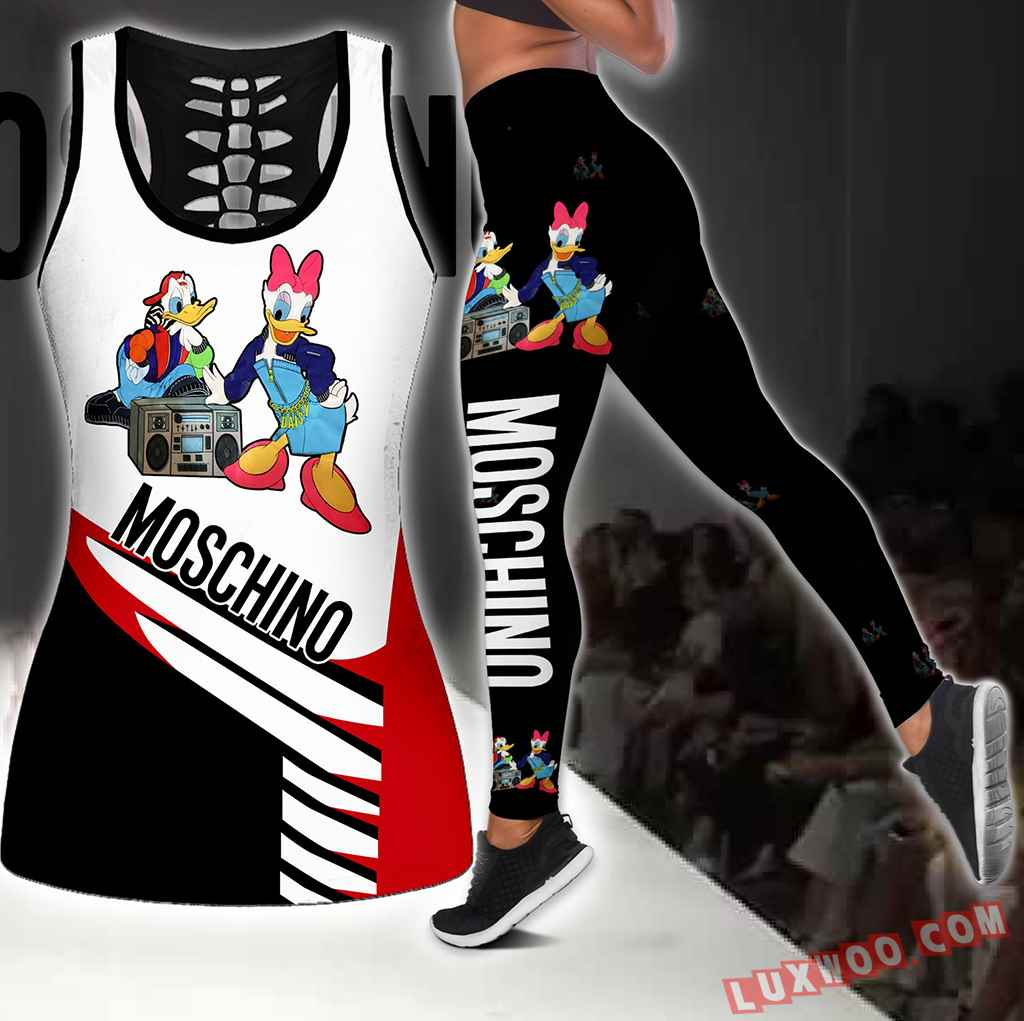 Combo Moschino Donald Duck Hollow Tanktop Legging Set Outfit S1109