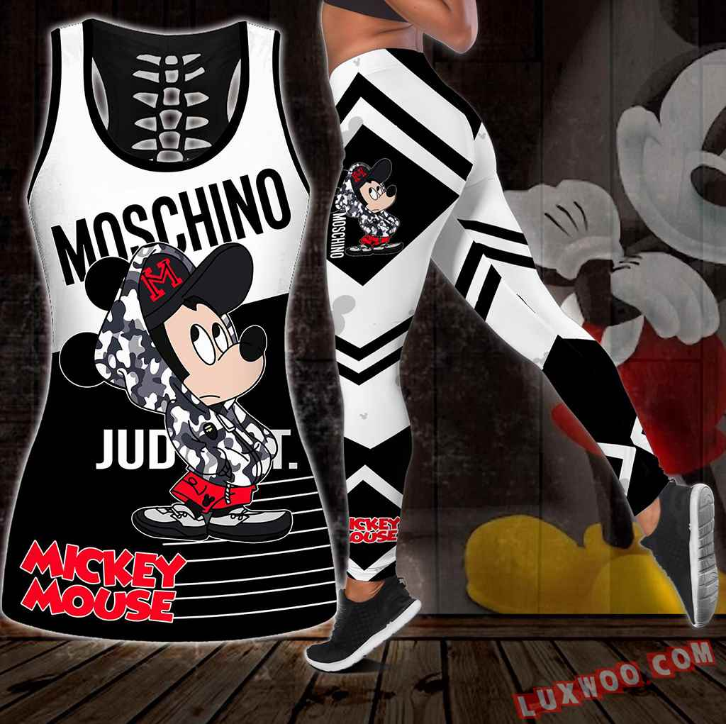 Combo Moschino Mickey Mouse Hollow Tanktop Legging Set Outfit S1106