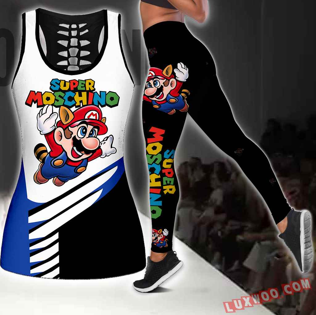 Combo Moschino Super Mario Hollow Tanktop Legging Set Outfit S1110
