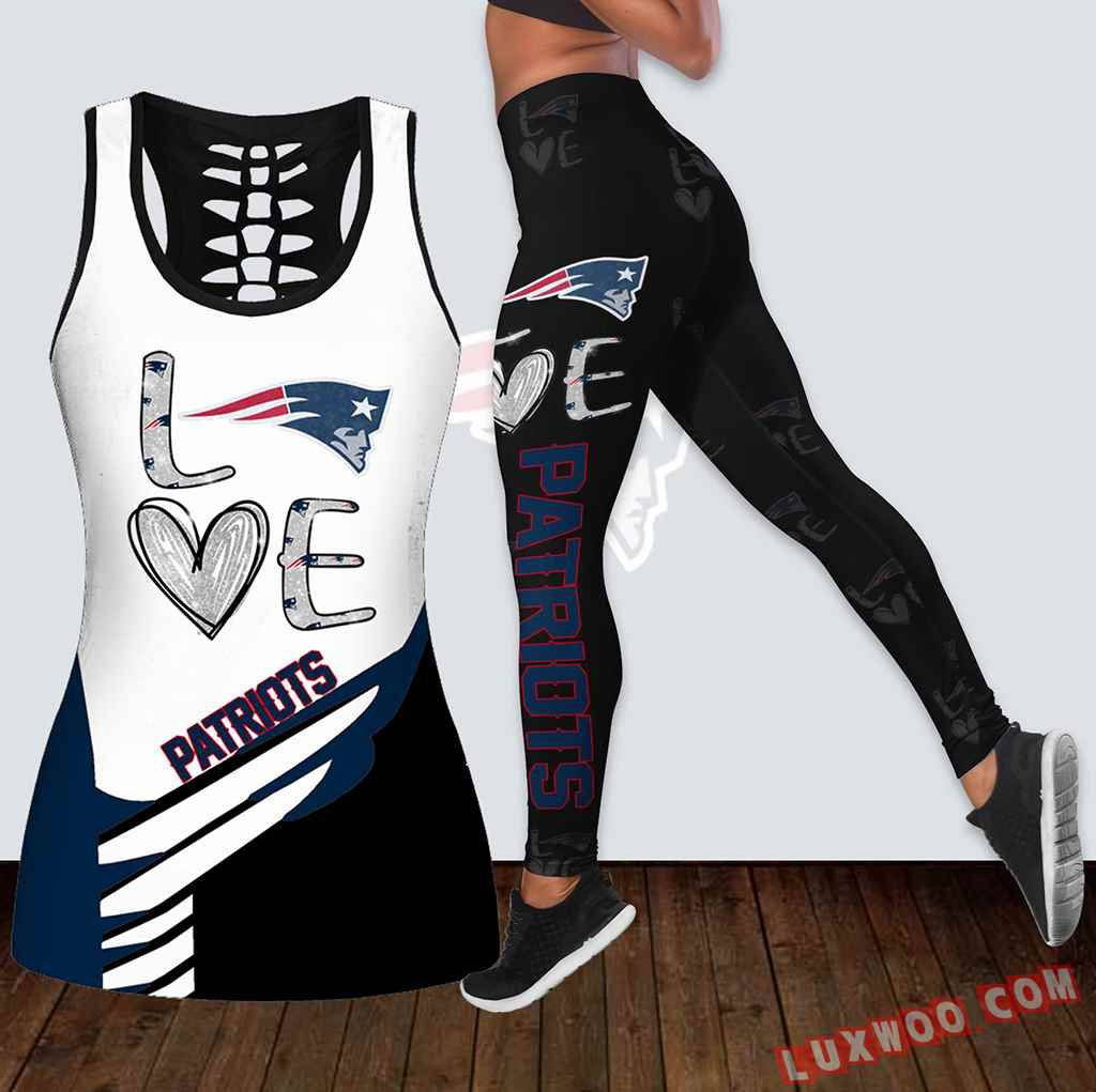 Combo New England Patriots Love Hollow Tanktop Legging Set Outfit K1912