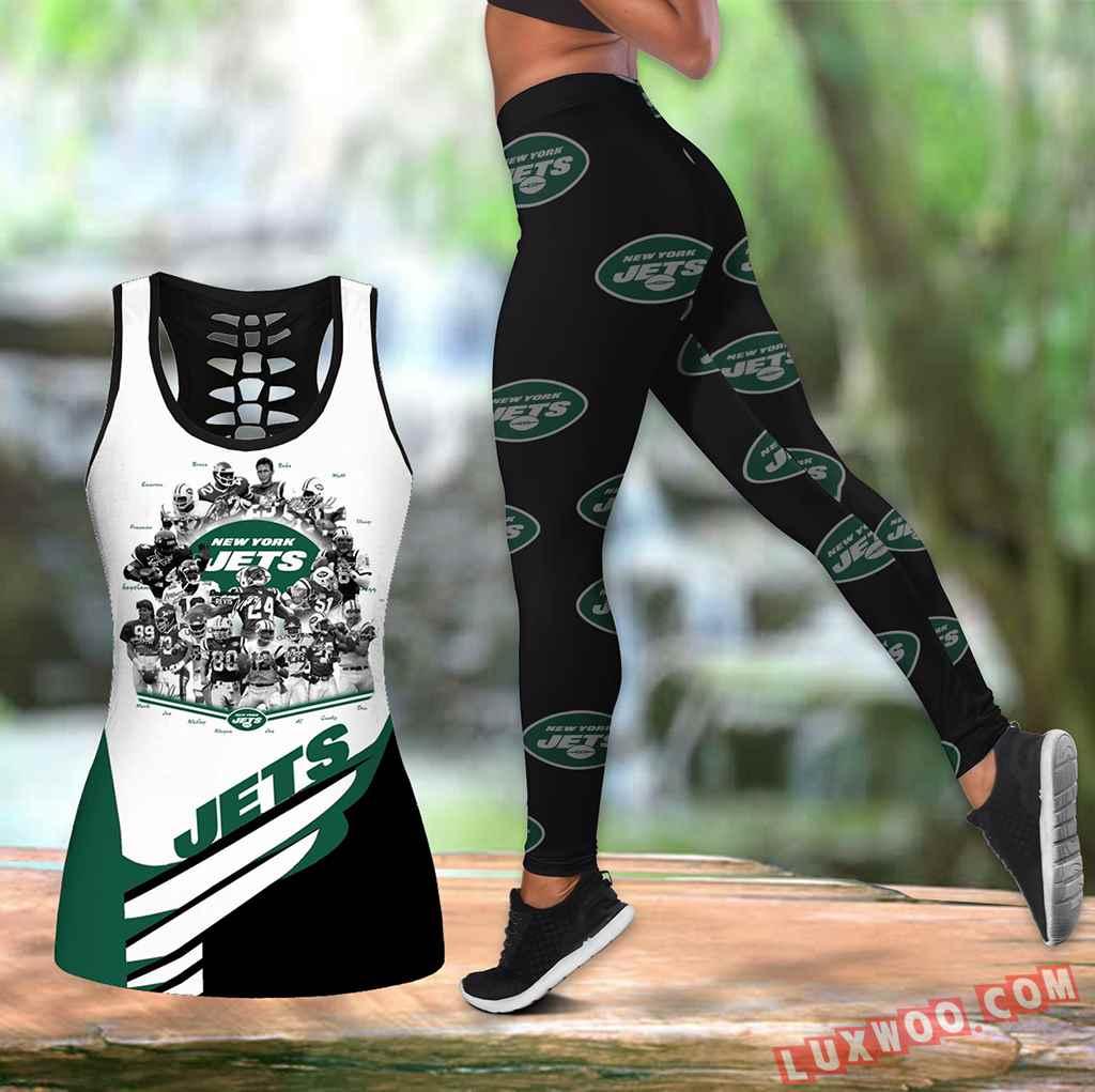 Combo New York Jets Hollow Tanktop Legging Set Outfit K1594