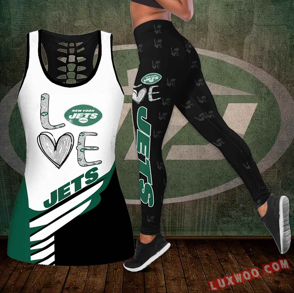 Combo New York Jets Love Hollow Tanktop Legging Set Outfit K1924