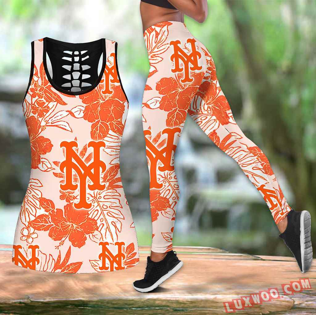 Combo New York Mets Hawaiian Tropical Flower Hollow Tanktop Legging Set Outfit K1561