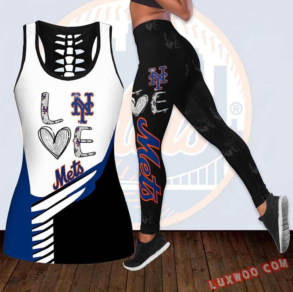 Combo New York Mets Love Hollow Tanktop Legging Set Outfit K1897