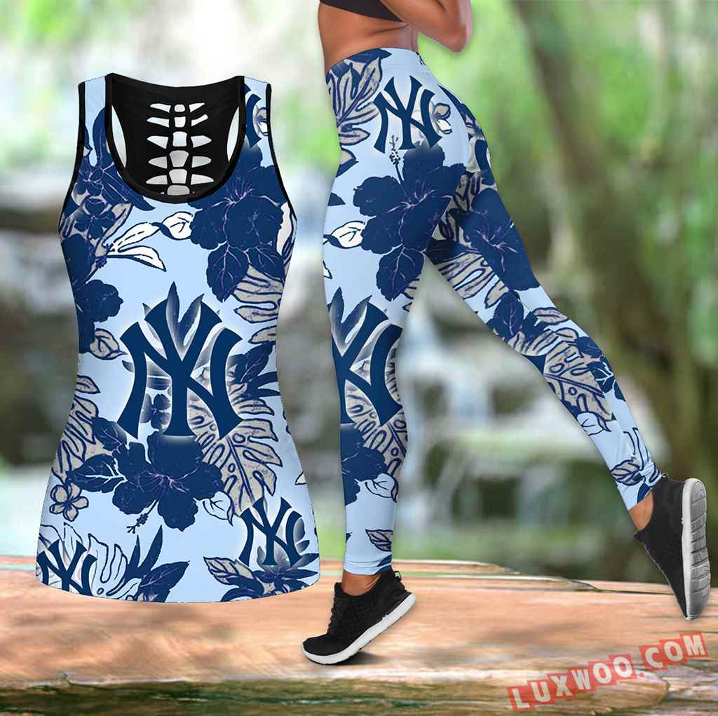Combo New York Yankees Hawaiian Tropical Flower Hollow Tanktop Legging Set Outfit V1581