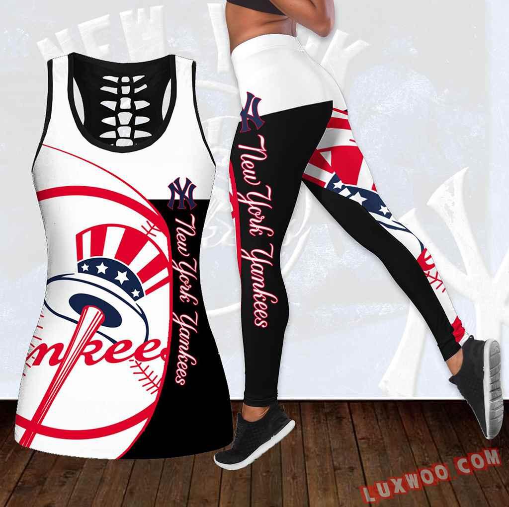 Combo New York Yankees Hollow Tanktop Legging Set Outfit K1782
