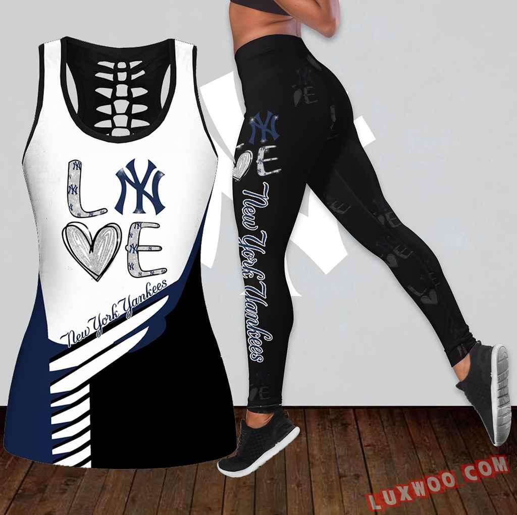 Combo New York Yankees Love Hollow Tanktop Legging Set Outfit K1833