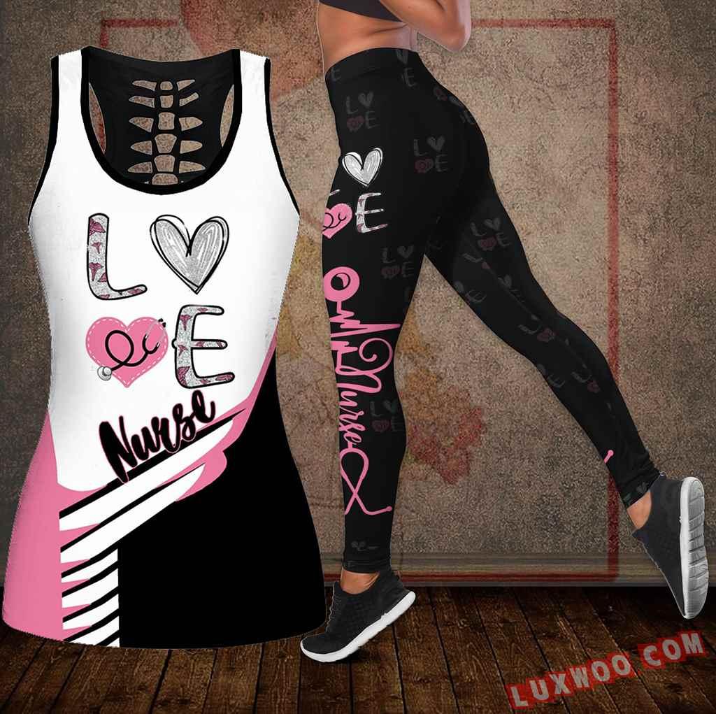Combo Nurse Love Hollow Tanktop Legging Set Outfit K2022