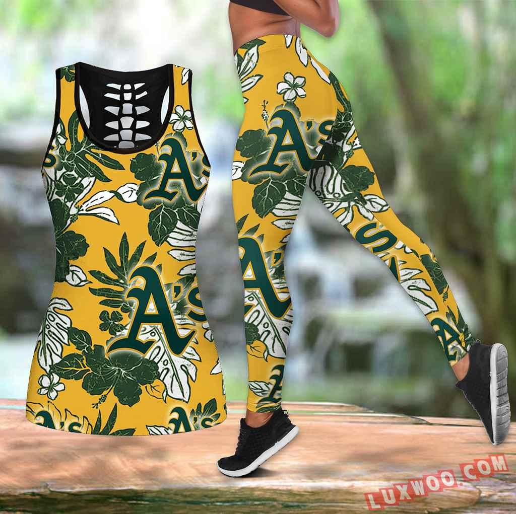 Combo Oakland Athletics Hawaiian Tropical Flower Hollow Tanktop Legging Set Outfit K1550