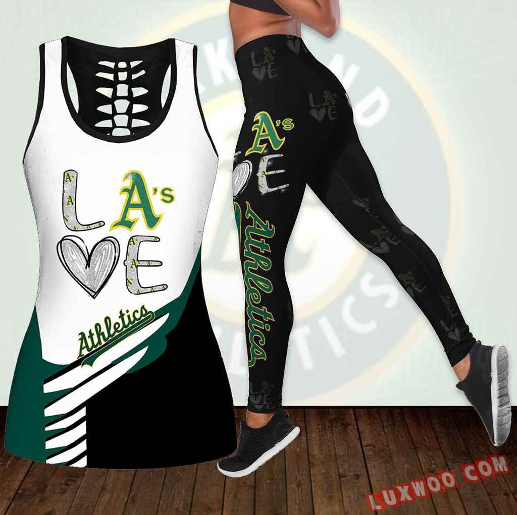 Combo Oakland Athletics Love Hollow Tanktop Legging Set Outfit K1887