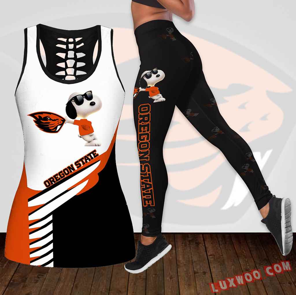 Combo Oregon State Snoopy Hollow Tanktop Legging Set Outfit K1860