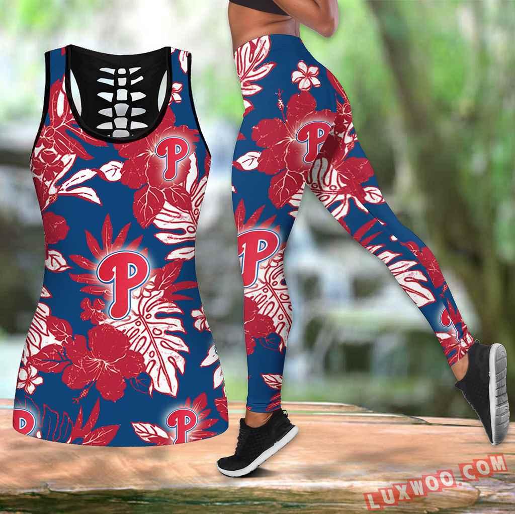Combo Philadelphia Phillies Hawaiian Tropical Flower Hollow Tanktop Legging Set Outfit K1554
