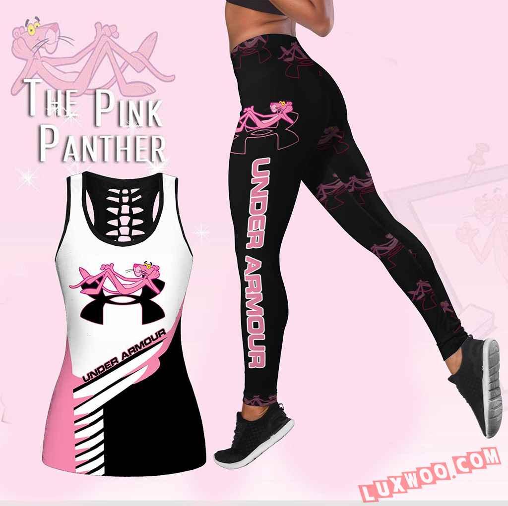 Combo Pink Panther Under Armour Hollow Tanktop Legging Set Outfit K1631