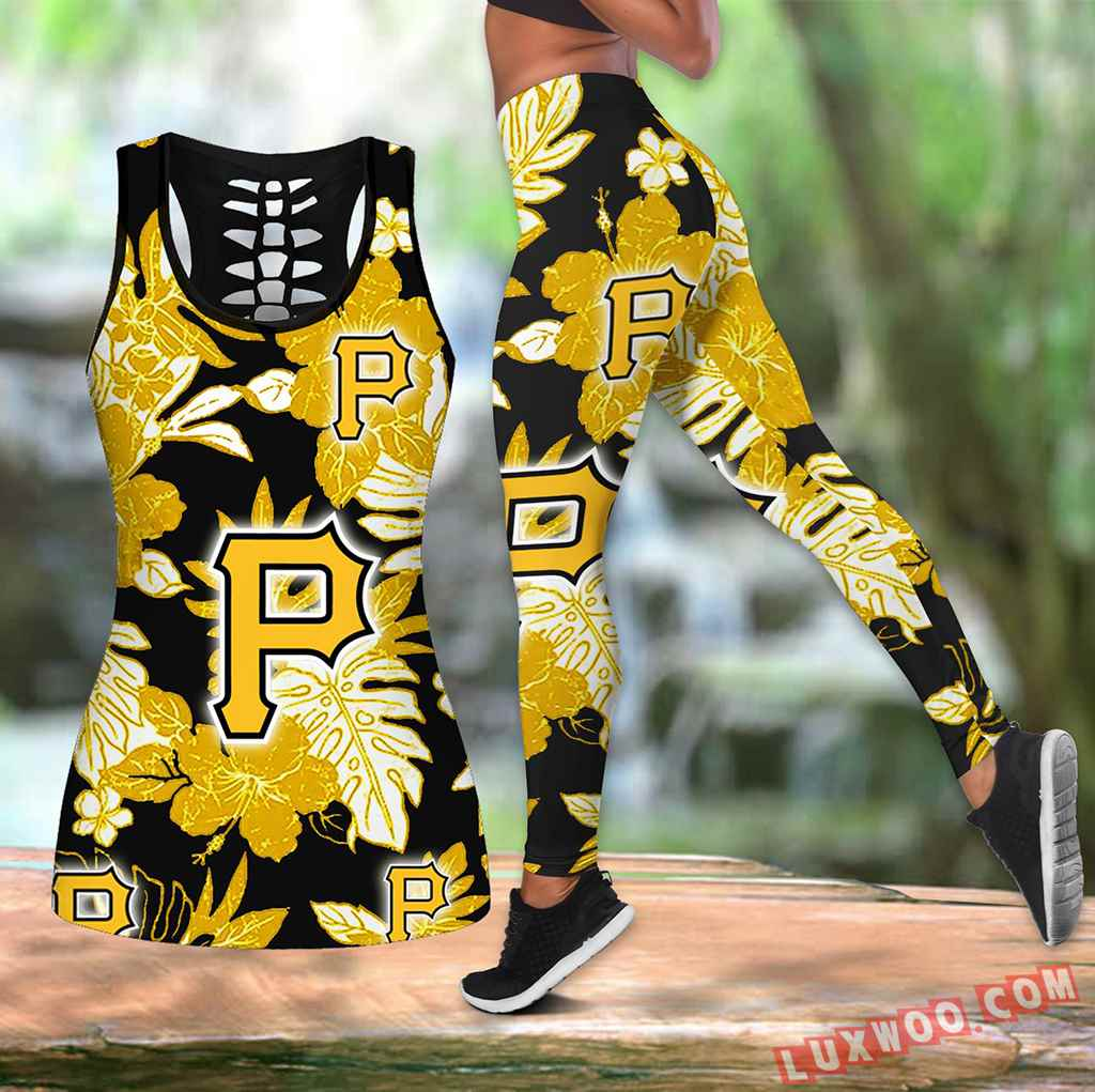 Combo Pittsburgh Pirates Hawaiian Tropical Flower Hollow Tanktop Legging Set Outfit V1582