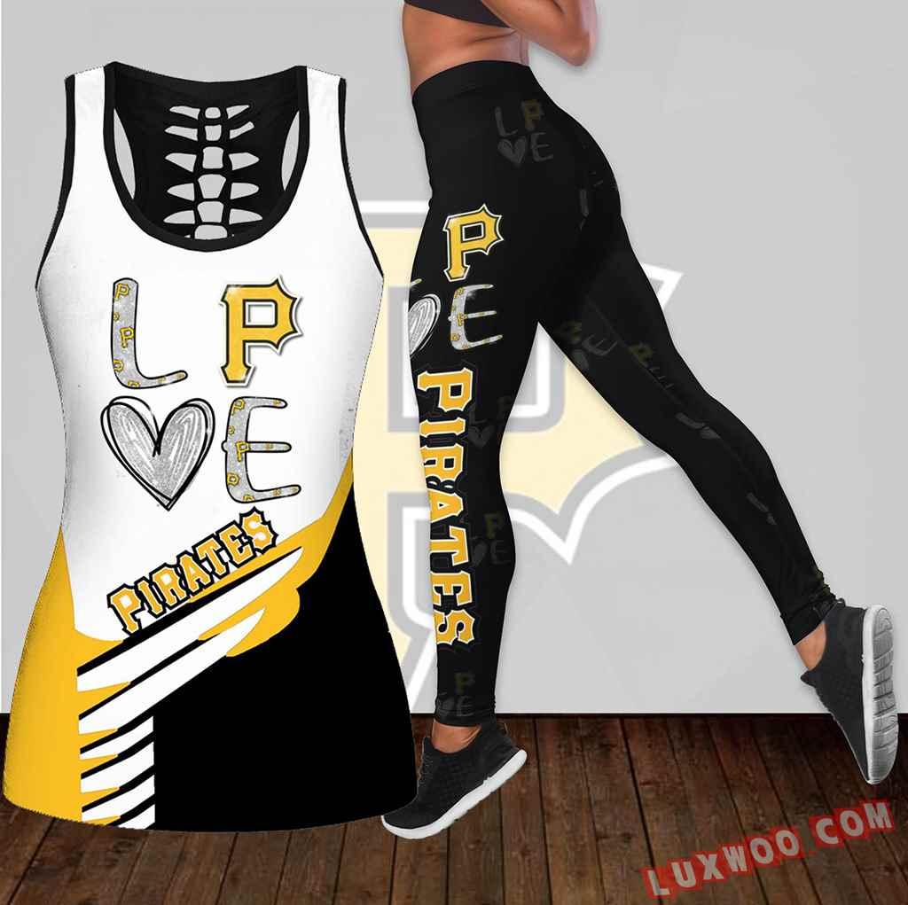 Combo Pittsburgh Pirates Love Hollow Tanktop Legging Set Outfit K1900