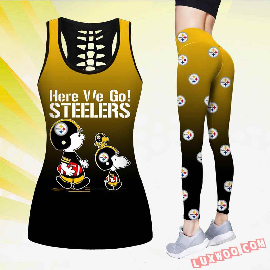 Combo Pittsburgh Steelers Hollow Tanktop Legging Set Outfit K1506