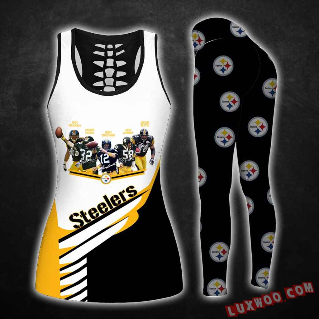 Combo Pittsburgh Steelers Hollow Tanktop Legging Set Outfit K1584