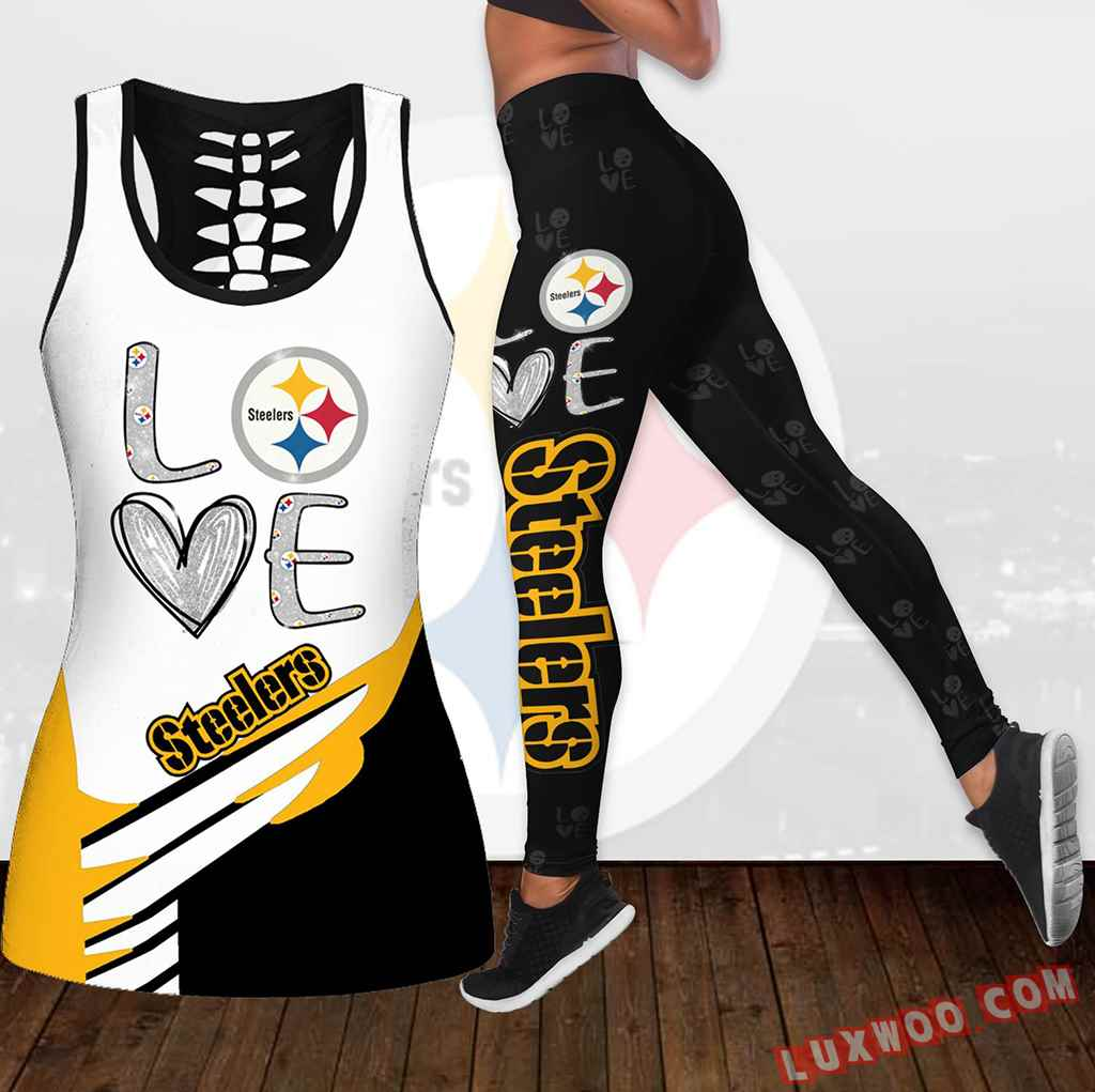 Combo Pittsburgh Steelers Love Hollow Tanktop Legging Set Outfit K1909