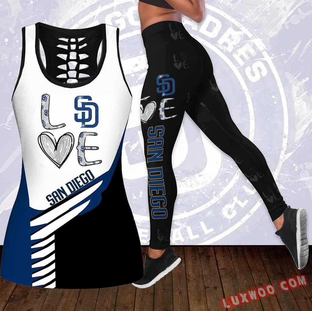 Combo San Diego Padres Love Hollow Tanktop Legging Set Outfit K1906