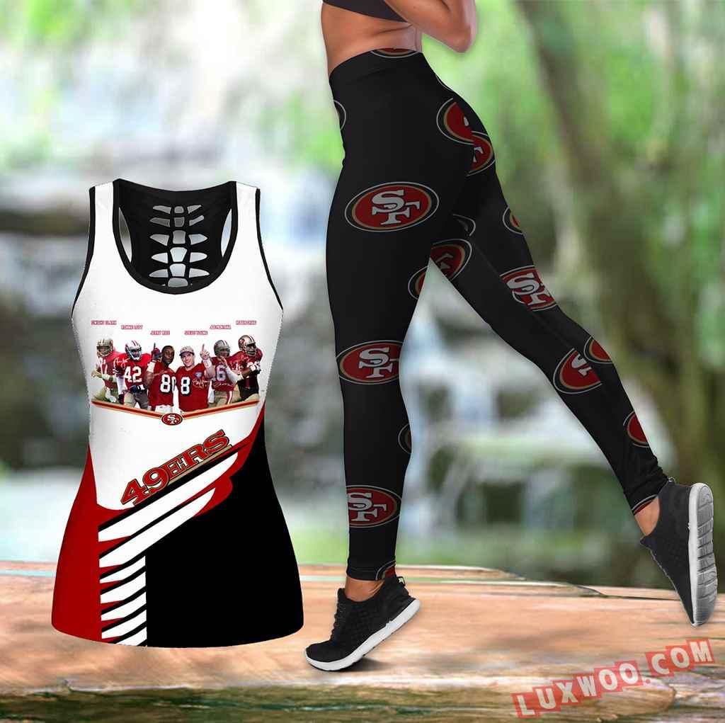 Combo San Francisco 49ers Hollow Tanktop Legging Set Outfit K1585
