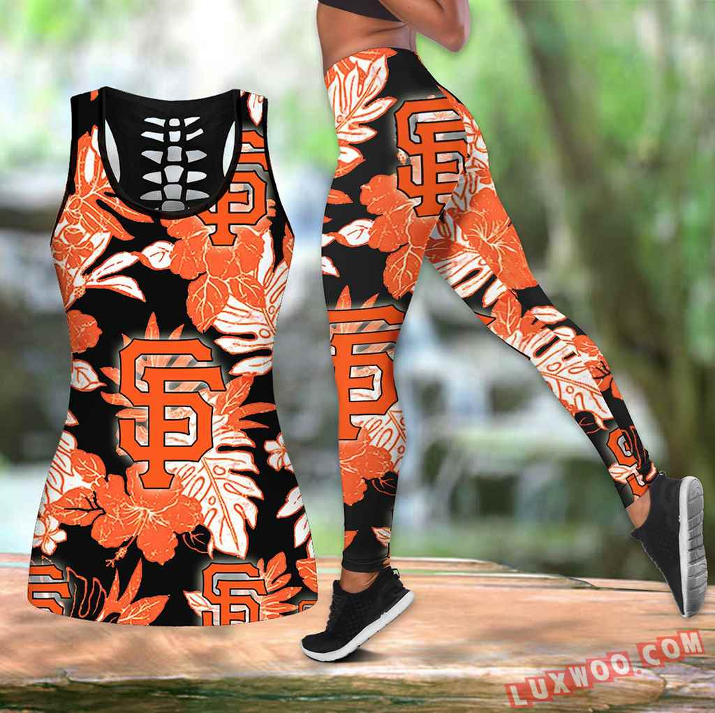 Combo San Francisco Giants Hawaiian Tropical Flower Hollow Tanktop Legging Set Outfit K1565
