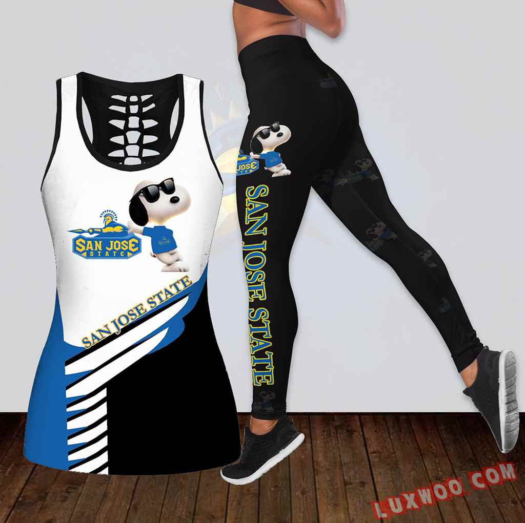 Combo San Jose State Spartans Snoopy Hollow Tanktop Legging Set Outfit K1798