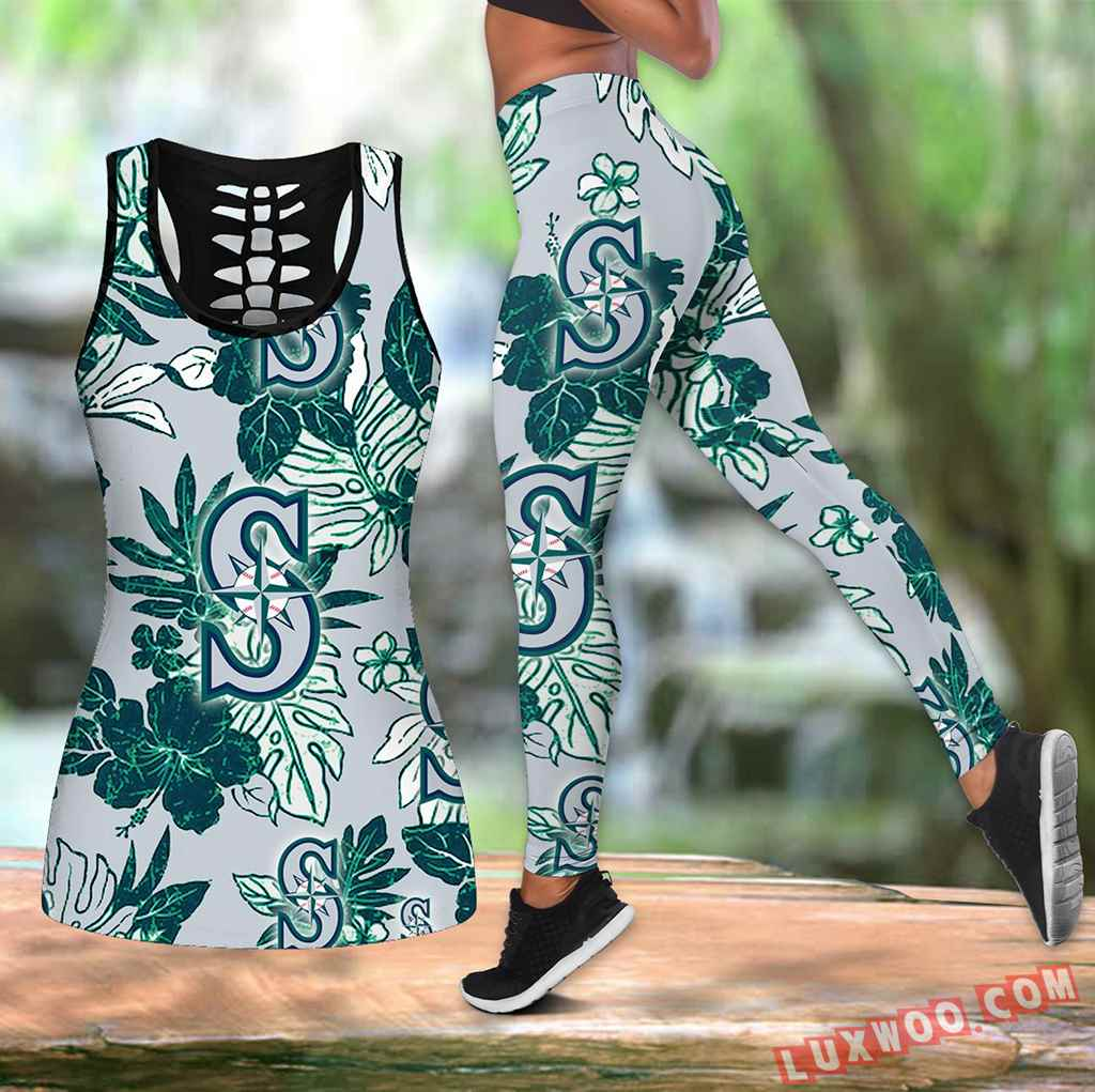 Combo Seattle Mariners Hawaiian Tropical Flower Hollow Tanktop Legging Set Outfit K1542