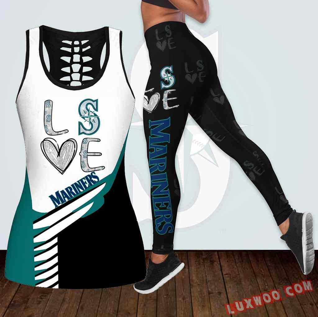 Combo Seattle Mariners Love Hollow Tanktop Legging Set Outfit K1878