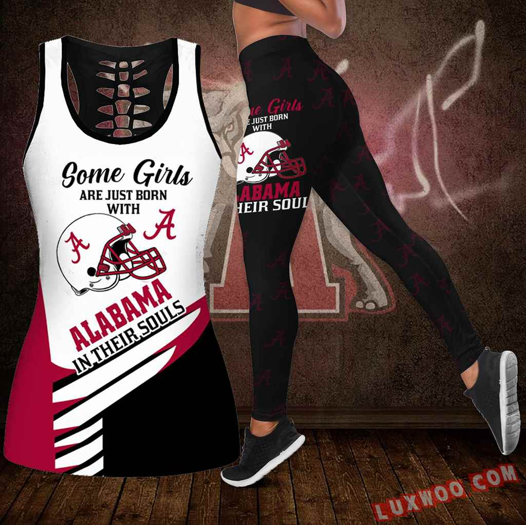Combo Some Girls Alabama Crimson Tide Hollow Tanktop Legging Set Outfit S1006