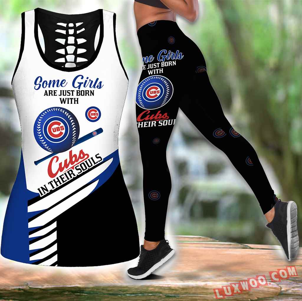 Combo Some Girls Chicago Cubs Hollow Tanktop Legging Set Outfit S1001