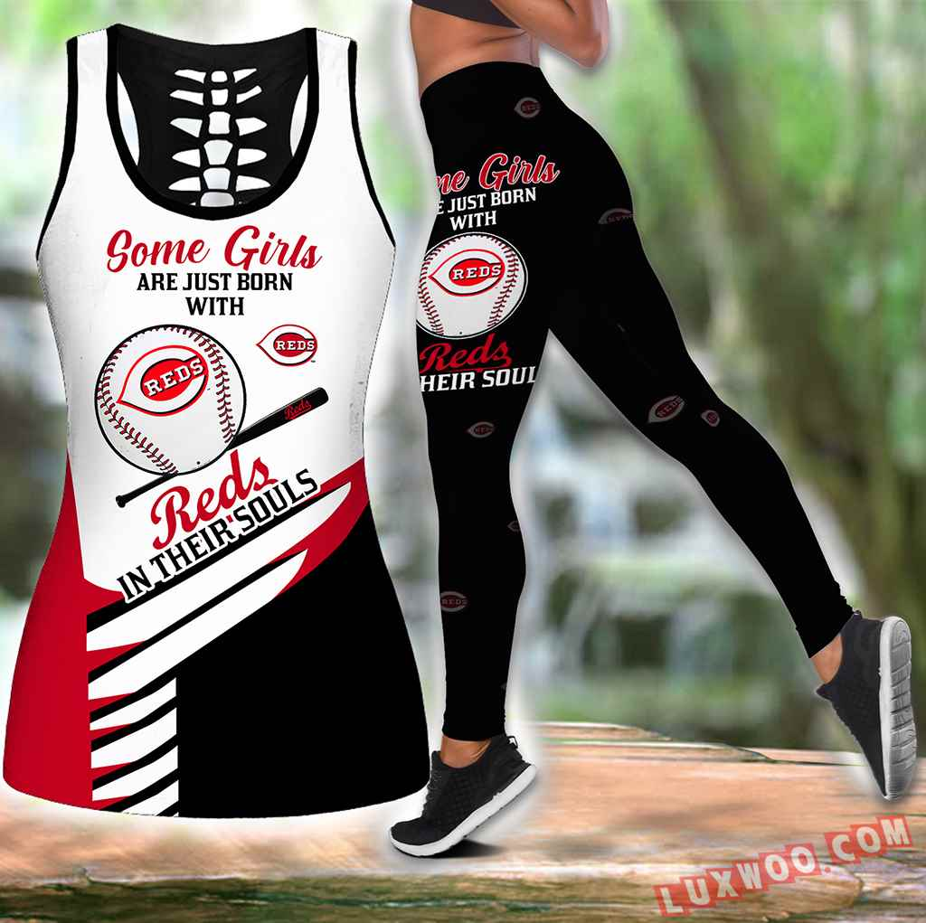 Combo Some Girls Cincinnati Reds Hollow Tanktop Legging Set Outfit S1002