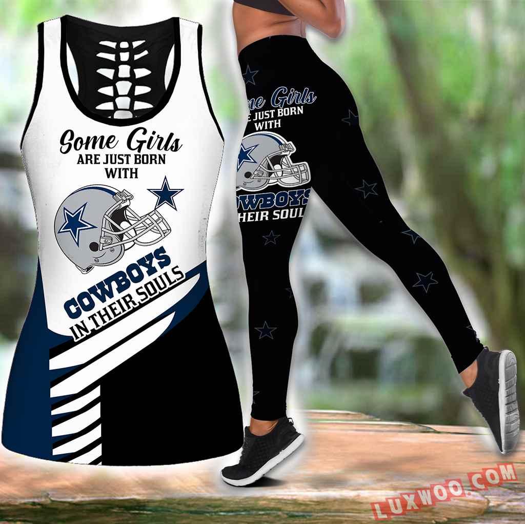 Combo Some Girls Dallas Cowboys Hollow Tanktop Legging Set Outfit K1974