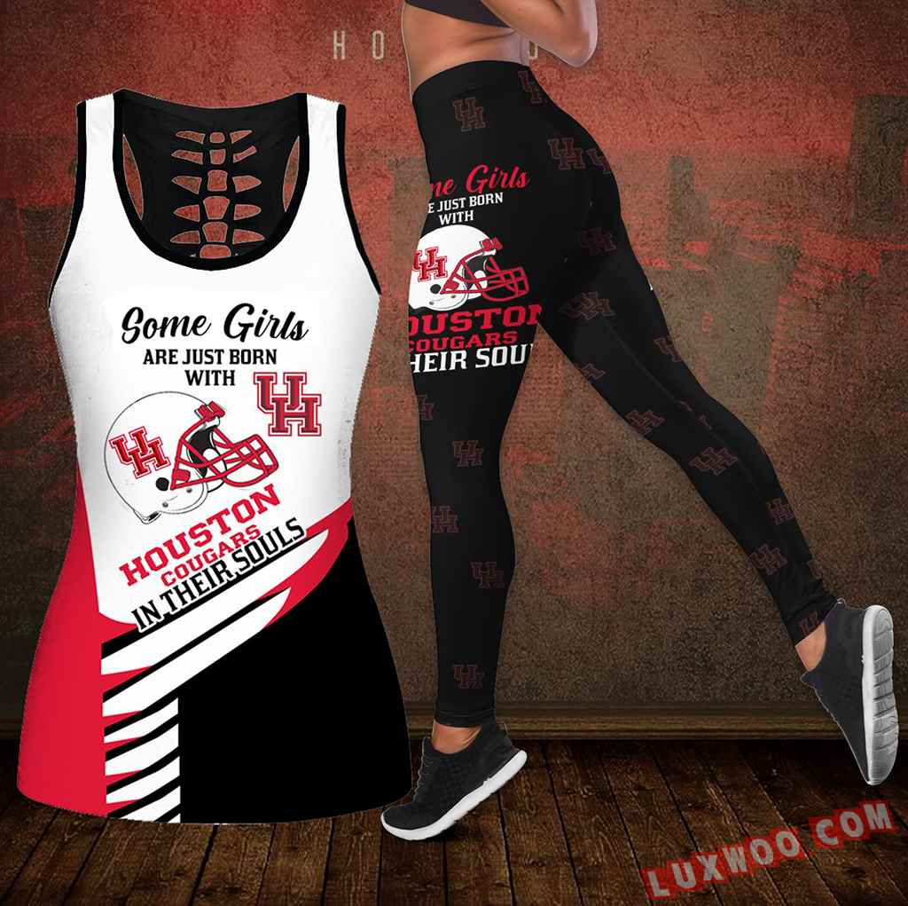 Combo Some Girls Houston Cougars Hollow Tanktop Legging Set Outfit S1008