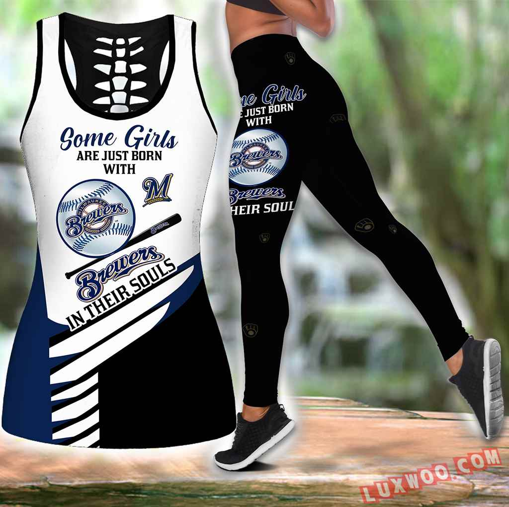 Combo Some Girls Milwaukee Brewers Hollow Tanktop Legging Set Outfit S1003