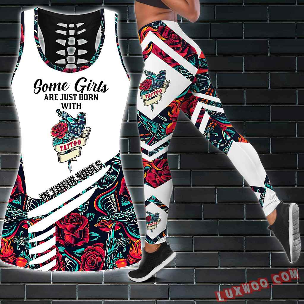 Combo Some Girls Tattoo Hollow Tanktop Legging Set Outfit S1224