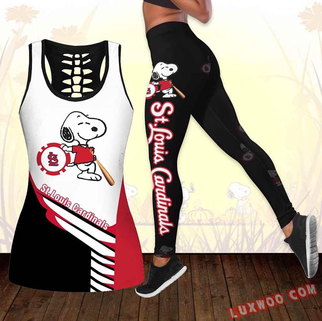 Combo St Louis Cardinals Snoopy Hollow Tanktop Legging Set Outfit K1725
