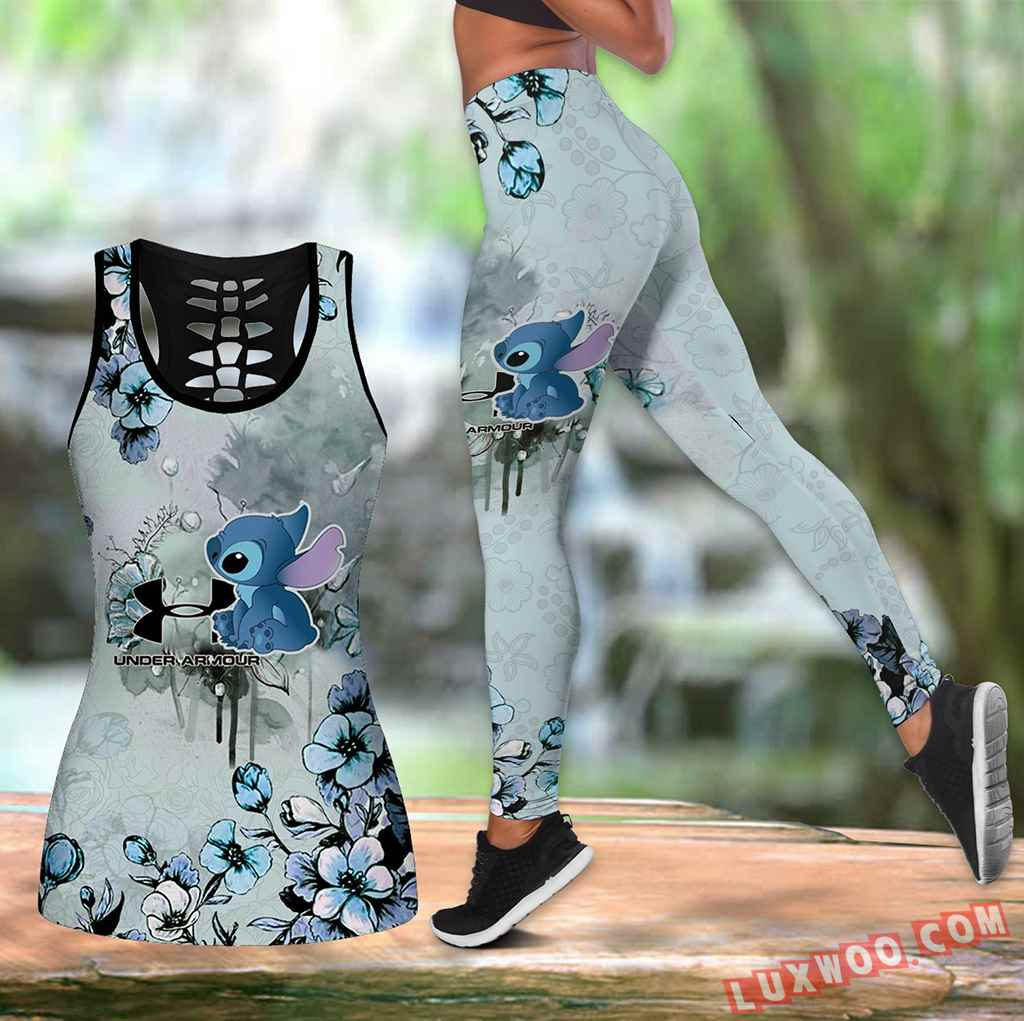Combo Stitch Under Armour Flower Hollow Tanktop Legging Set Outfit K1570