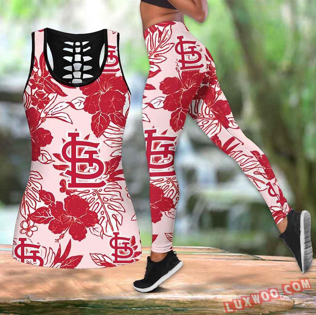 Combo Stlouis Cardinals Hawaiian Tropical Flower Hollow Tanktop Legging Set Outfit V1578