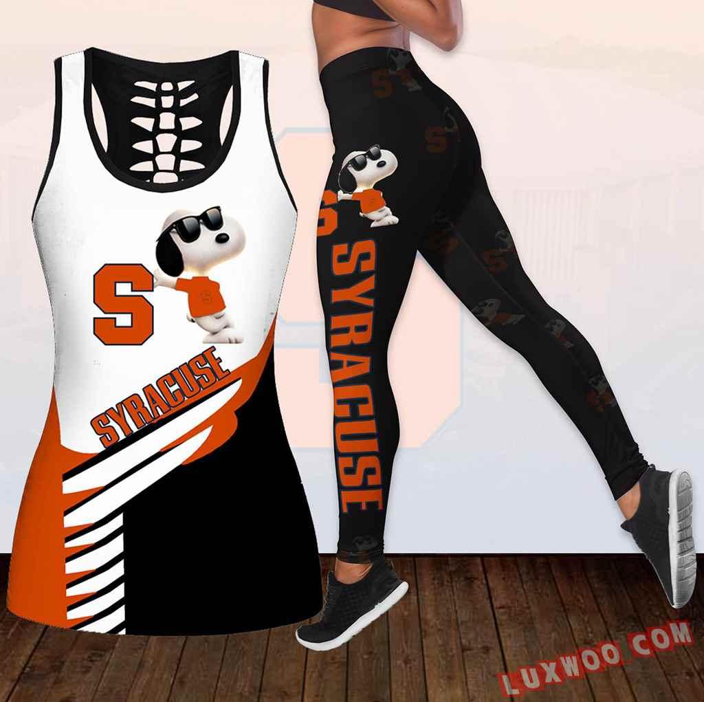 Combo Syracuse Orange Snoopy Hollow Tanktop Legging Set Outfit K1822