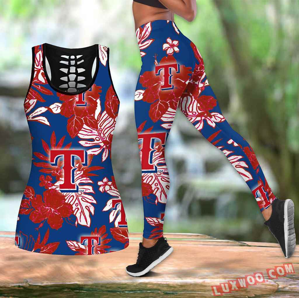 Combo Texas Rangers Hawaiian Tropical Flower Hollow Tanktop Legging Set Outfit K1562
