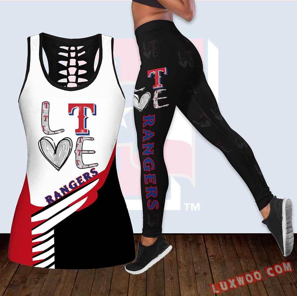 Combo Texas Rangers Love Hollow Tanktop Legging Set Outfit K1876