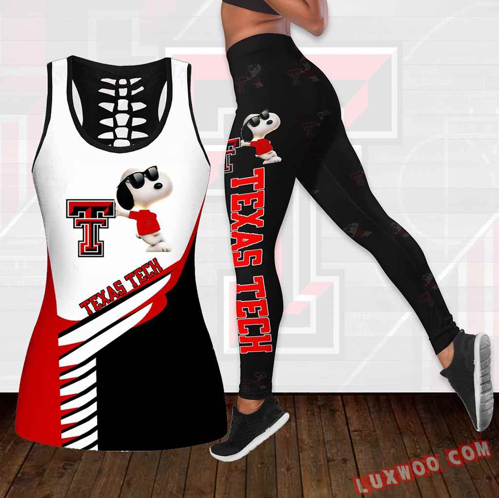 Combo Texas Tech Red Raiders Snoopy Hollow Tanktop Legging Set Outfit K1791