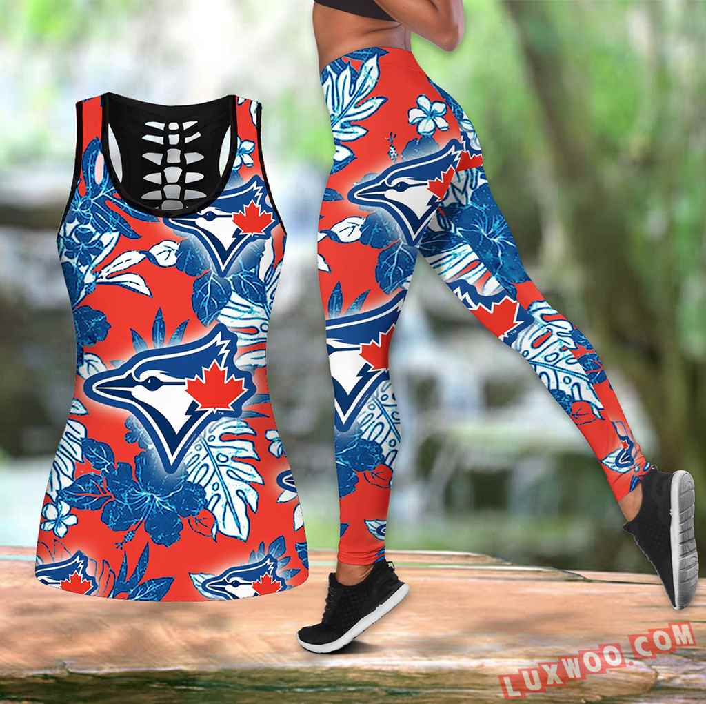 Combo Toronto Blue Jays Hawaiian Tropical Flower Hollow Tanktop Legging Set Outfit K1548