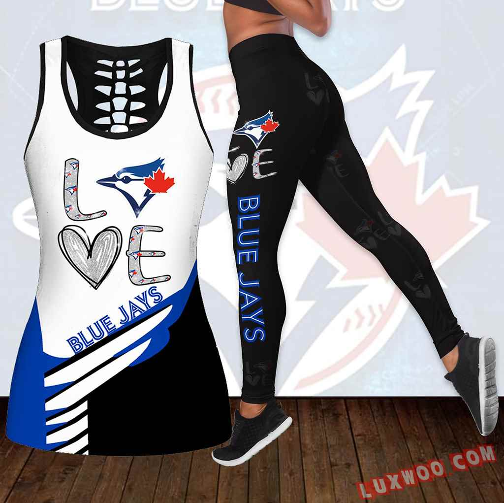 Combo Toronto Blue Jays Love Hollow Tanktop Legging Set Outfit K1835