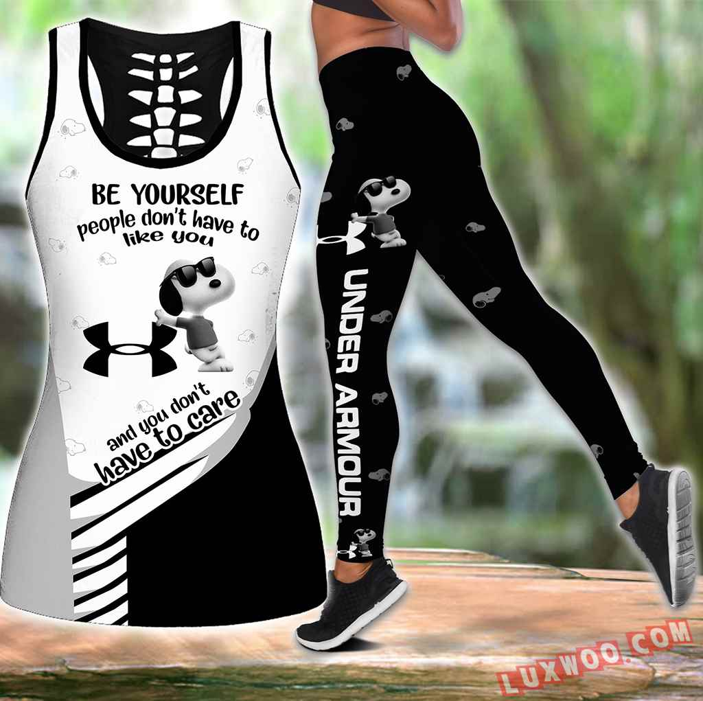 Combo Ua Snoopy New Hollow Tanktop Legging Set Outfit S1044
