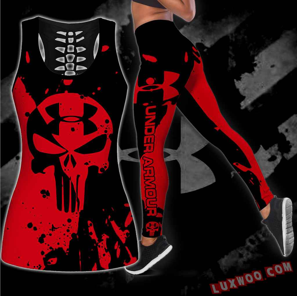 Combo Under Armour New Skull Hollow Tanktop Legging Set Outfit S1074
