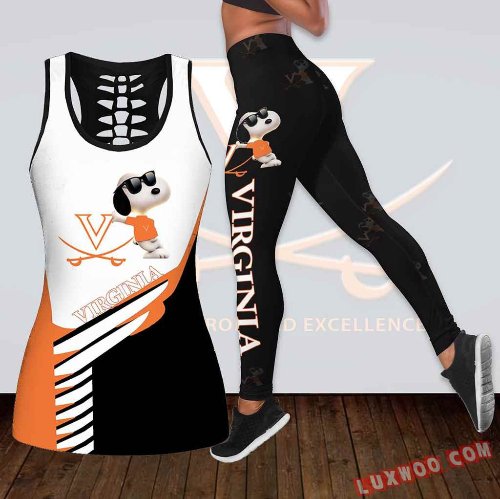 Combo Virginia Cavaliers Snoopy Hollow Tanktop Legging Set Outfit K1849