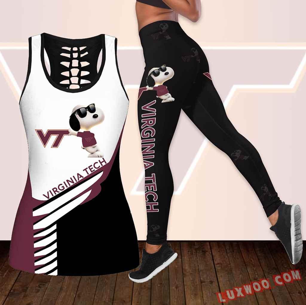 Combo Virginia Tech Hokies Snoopy Hollow Tanktop Legging Set Outfit K1848